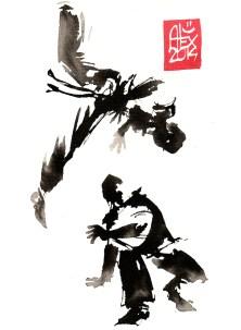 Encres : Capoeira – 644 [ #capoeira #watercolor #illustration] aquarelle sur papier 300gr / watercolor on paper 300gr 14 x 19 cm / 5.5 x 7.5 in
