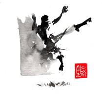 Illustration : Capoeira – 697 [ #capoeira #watercolor #illustration] aquarelle sur papier 325gr / watercolor on paper 325gr 16 x 16 cm / 6.30 x 6.30 in