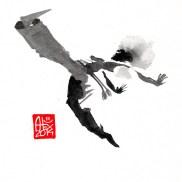 Illustration : Capoeira – 702 [ #capoeira #watercolor #illustration] aquarelle sur papier 325gr / watercolor on paper 325gr 16 x 16 cm / 6.30 x 6.30 in