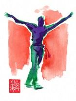 Illustration : Capoeira – 711 [ #capoeira #watercolor #illustration] aquarelle sur papier 325gr / watercolor on paper 325gr 12 x 16 cm / 4.7 x 6.30 in