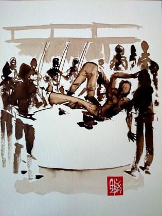Illustration : Capoeira – 720 [ #capoeira #watercolor #illustration] aquarelle sur papier 325gr / watercolor on paper 325gr 24 x 32 cm / 9.4 x 12.6 in