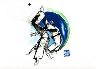 Illustration : Capoeira – 747 [ #capoeira #watercolor #illustration] aquarelle sur papier 325gr / watercolor on paper 325gr 24 x 32 cm / 9.4 x 12.6 in