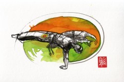Illustration : Capoeira – 755 [ #capoeira #watercolor #illustration] aquarelle sur papier 325gr / watercolor on paper 325gr 24 x 32 cm / 9.4 x 12.6 in