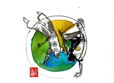 Illustration : Capoeira – 757 [ #capoeira #watercolor #illustration] aquarelle sur papier 325gr / watercolor on paper 325gr 24 x 32 cm / 9.4 x 12.6 in