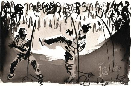 Illustration : Capoeira – 785 [ #capoeira #watercolor #illustration] aquarelle sur papier 325gr / watercolor on paper 325gr 28 x 11 cm / 11 x 4.3 in