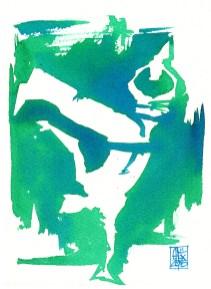 Illustration : Capoeira – 787 [ #capoeira #watercolor #illustration] aquarelle sur papier 325gr / watercolor on paper 325gr 19 x 14 cm / 7.5 x 5.5 in