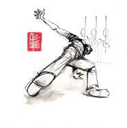 Illustration : Capoeira – 798 [ #capoeira #watercolor #illustration] aquarelle sur toile / watercolor on canvas 20 x 20 cm / 7.8 x 7.8 in