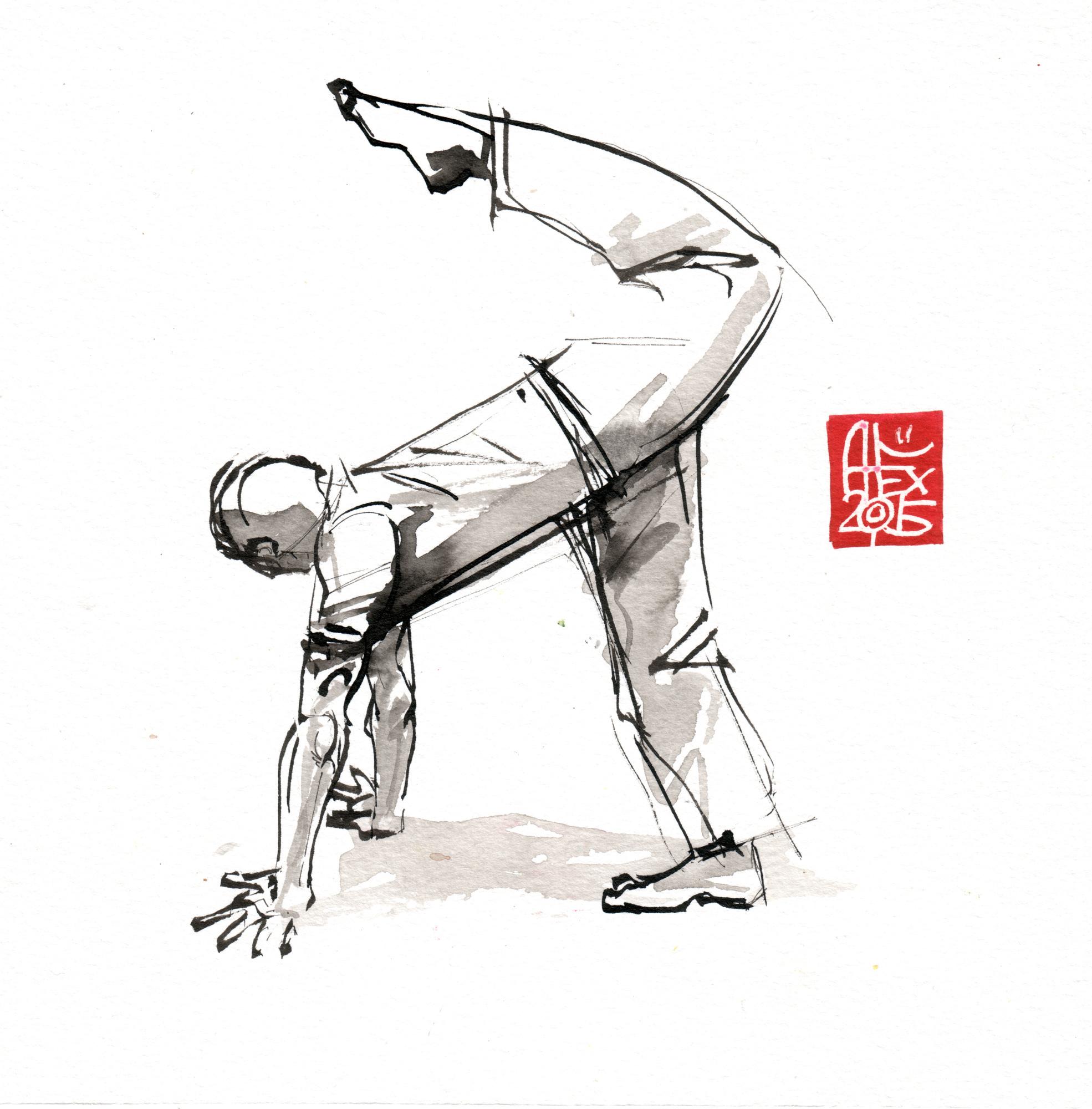 Illustration : Capoeira – 799 [ #capoeira #watercolor #illustration] aquarelle sur papier 325gr / watercolor on paper 325gr 20 x 20 cm / 7.8 x 7.8 in