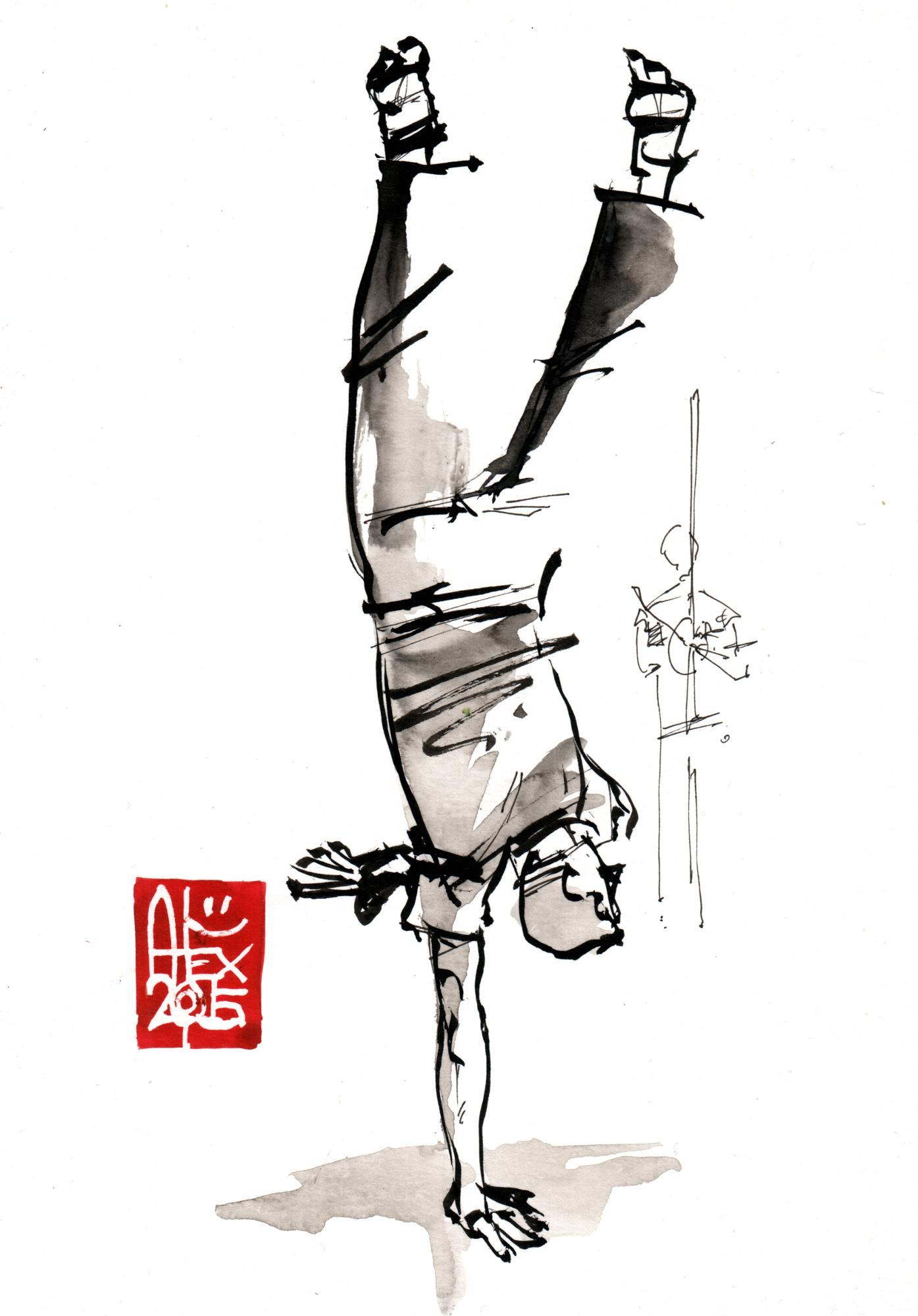 Illustration : Capoeira – 800 [ #capoeira #watercolor #illustration] aquarelle sur papier 190gr / watercolor on paper 190gr 14.5 x 21 cm / 5.7 x 8.2 in