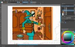 Progression de la mise en couleur de la case 1 de la planche 2 avec le logiciel Krita.