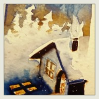 Petite aquarelle de l'hiver.