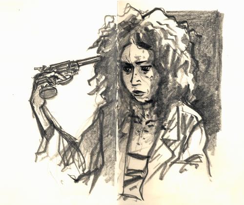 Une femme totalement décoiffée, débraillé, maculée de sang et tenant un pistolet contre sa tempe