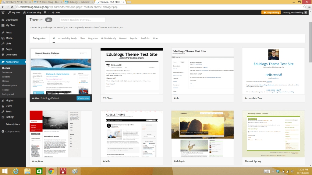Edublogs screenshot