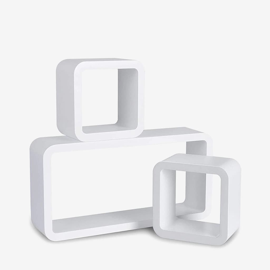 etagere cube murale blanc et noir 3pcs