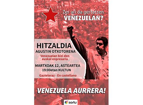 """Hitzaldia: """"Zer ari da gertatzen Venezuelan?"""", Agustin Otxotorenaren eskutik @ Arrate Kultur Elkartean"""