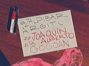Koarentenan ere, Joaquin eta Alberto gogoratzeko deia egin du Zaldibar Argituk