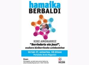 """Kike Amonarrizek hitzaldia emango du urriaren 27an """"Hamaika berbaldi"""" egitasmoaren baitan"""
