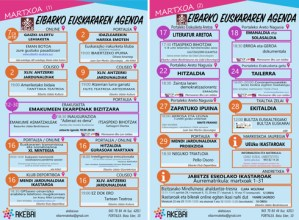 Martxoko euskararen agenda argitaratu du Eibarren Akebai plataformak