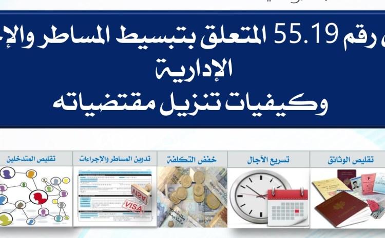 القانون رقم 55.19 المتعلق بتبسيط المساطر والإجراءات الإدارية وكيفيات تنزيل مقتضياته