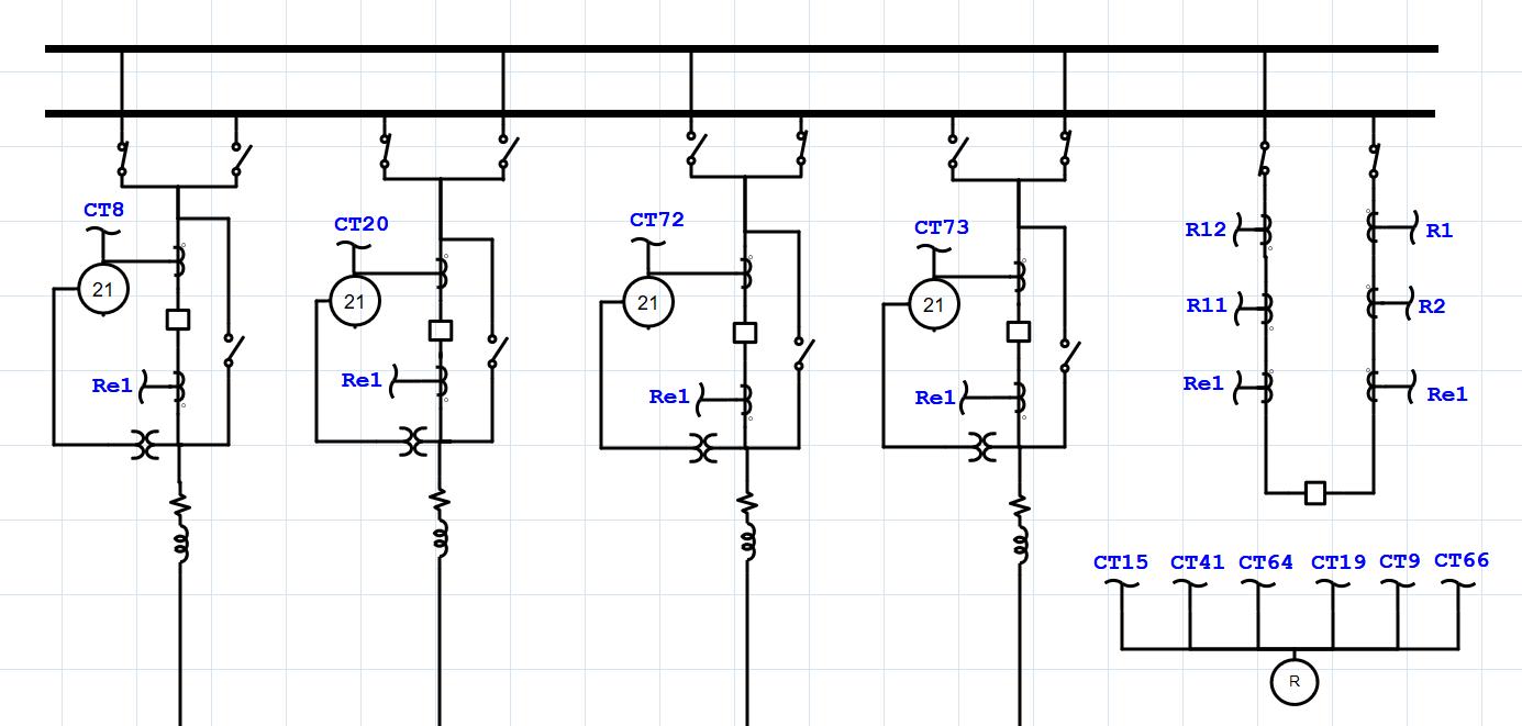 transmission system one line diagram showing a double bus configuration [ 1385 x 661 Pixel ]