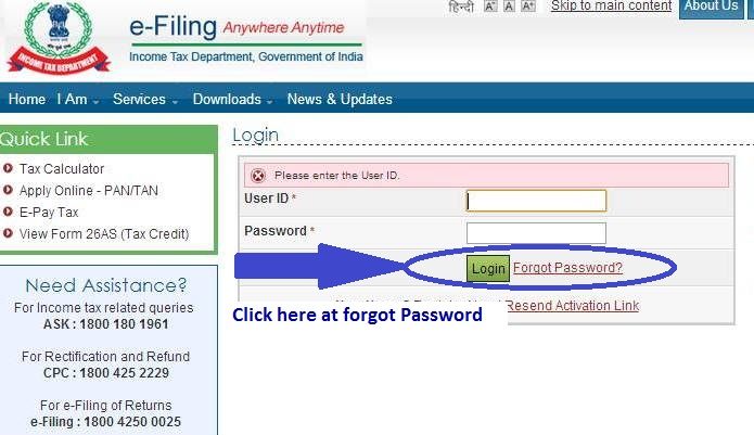 How to Reset Password at Income Tax India