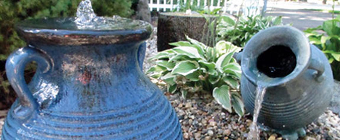 Outdoor Water Fountains Features Garden Pots Statues Wind