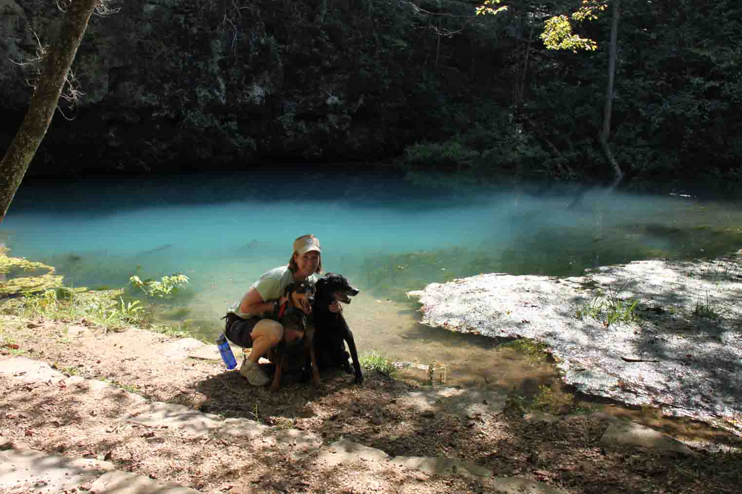 me and my dogs at blue spring in the missouri ozarks