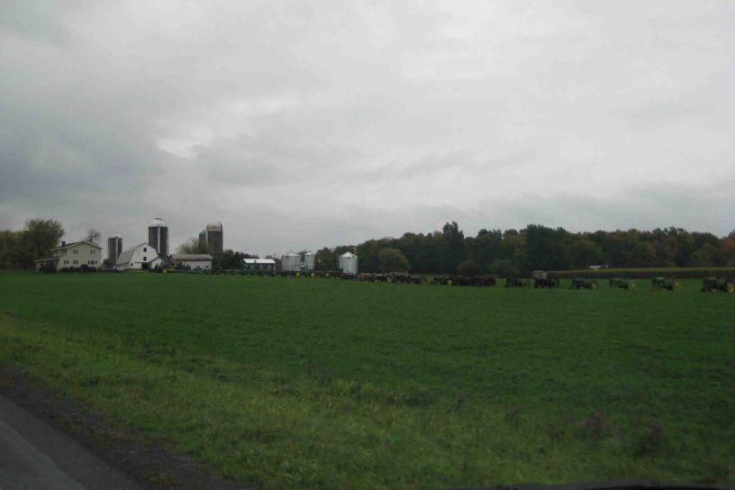 Row of 50 John Deere's on the Lake Champlain Loop