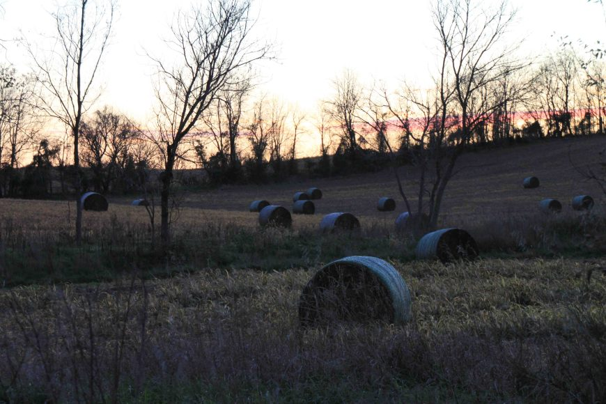 hay bales at antietam national battlefield in the maryland panhandle