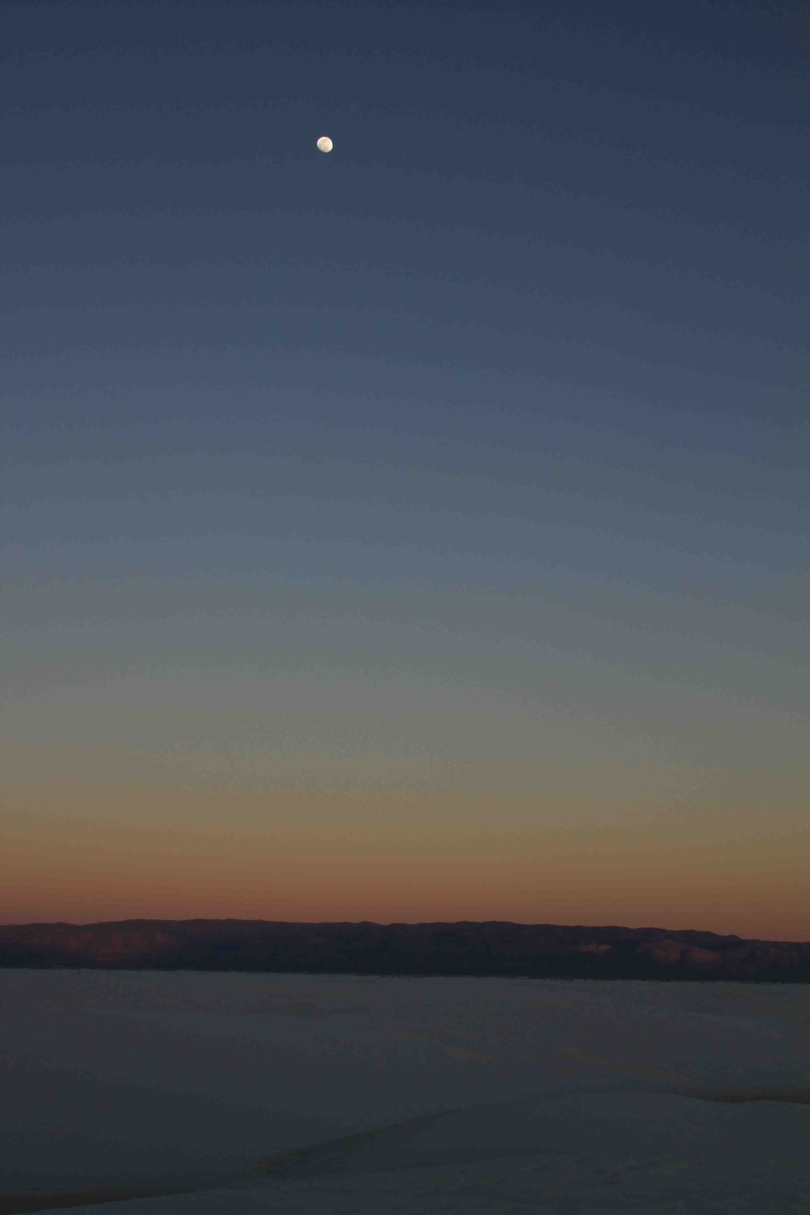 moon and sunset at white sands national monument
