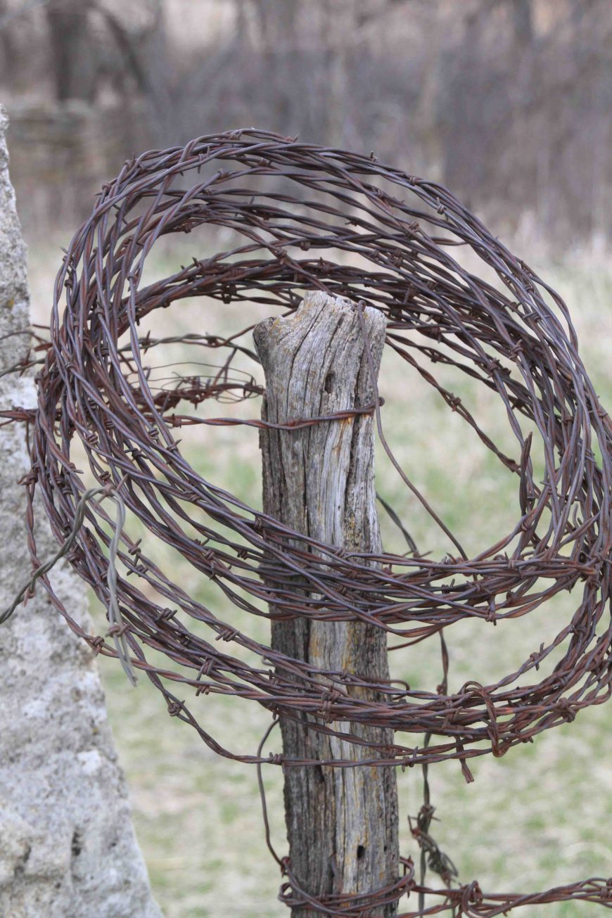 roll of barbed wire at the national tallgrass prairie preserve