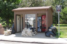 Rest Area building guarded with sand bags