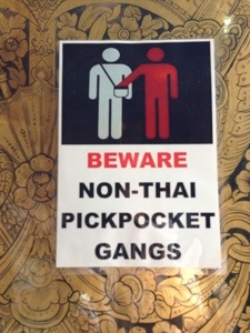 pickpocketing sign in Bangkok