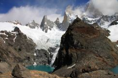 fitz roy with ice calving