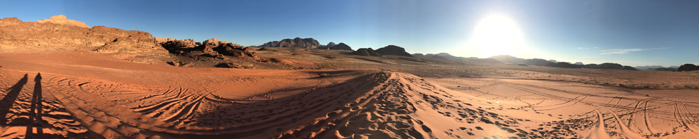 panorama in the wadi rum desert