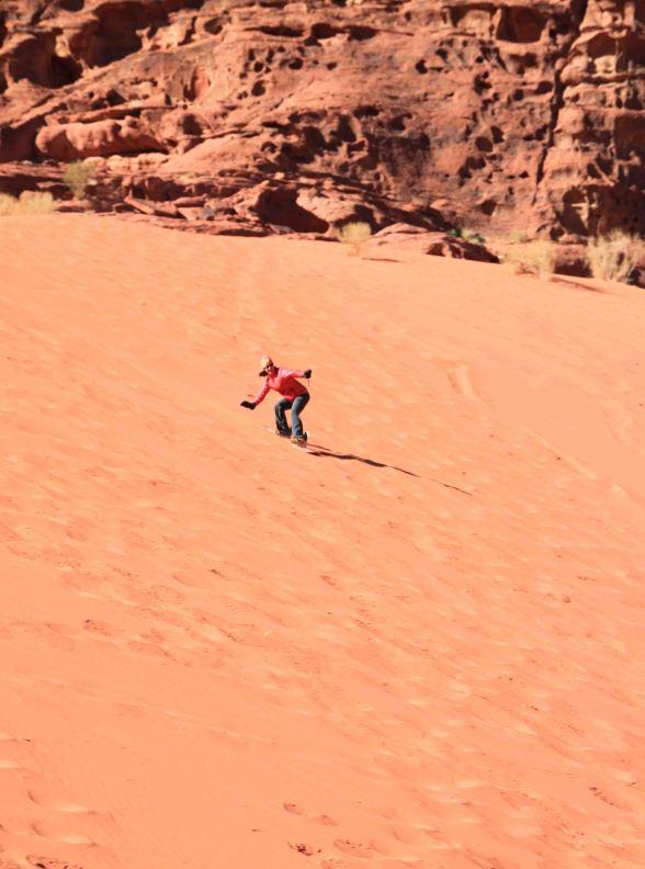 sandboarding in the wadi rum desert