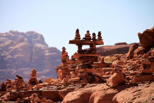rock art cairn in the wadi rum desert