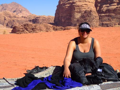 syreeta at picnic lunch in the wadi rum desert