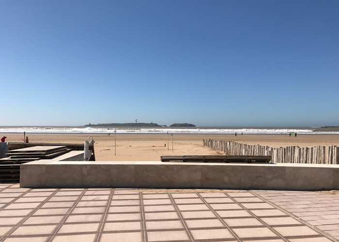boardwalk and beach in essaouira
