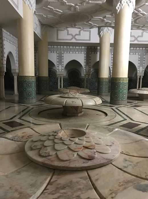 fountains in Hassan II Mosque in Casablanca