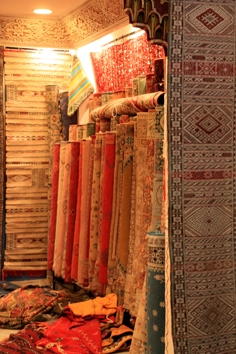 rug selection in marrakesh medina