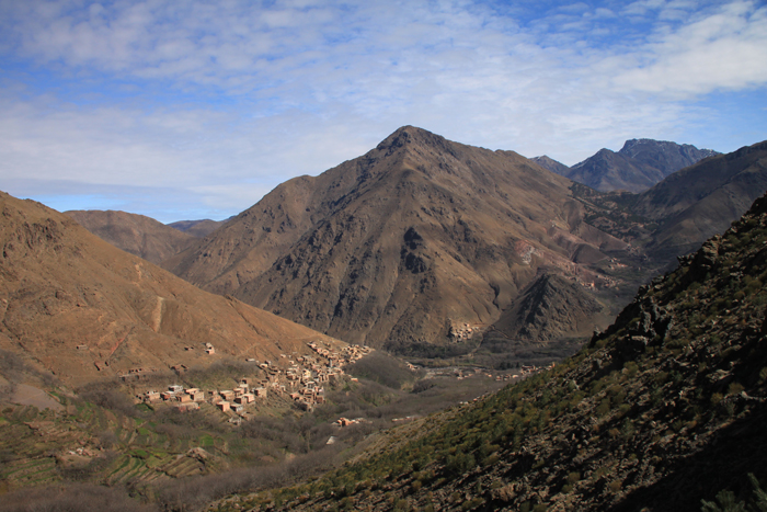 view of village from trail to tizi mzik