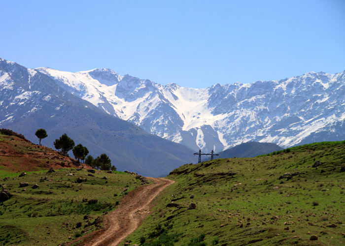 view of toubkal from asni ouirgane valley