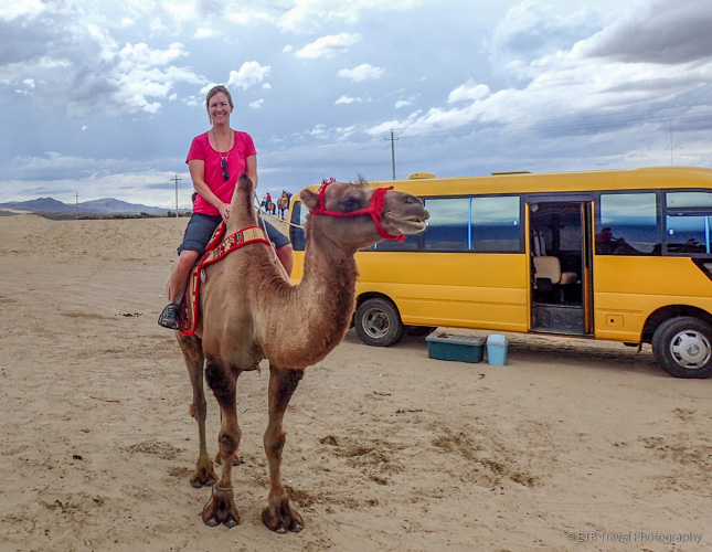 me riding camel in Elsen Tasarkhai, Mongolia