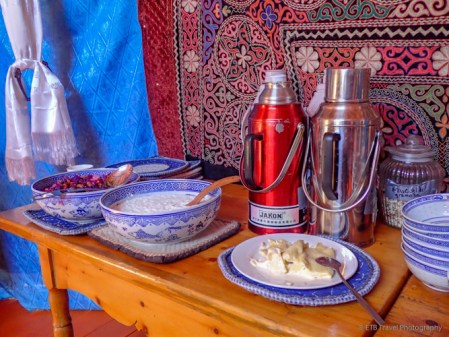 typical breakfast...fruit in syrup, yak or mare's milk yogurt, clotted cream...lucky egg station was on the table