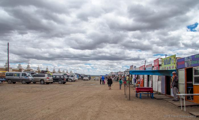 parking and shopping area near Erdene Zuu Khiid in Kharkhorin