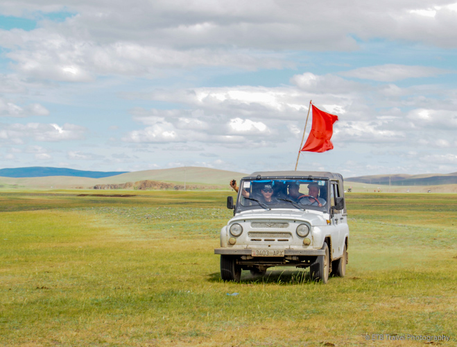 lead car at Naadam Horse Race in Mongolia