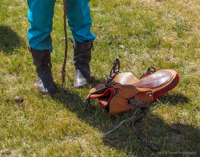 Jockey boots and saddle at Naadam in Mongolia
