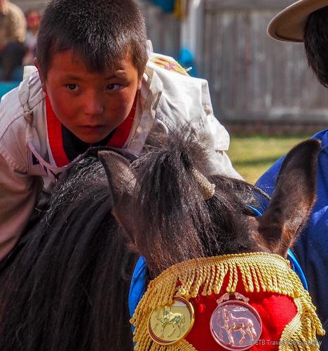 jockey and horse at naadam awards ceremony