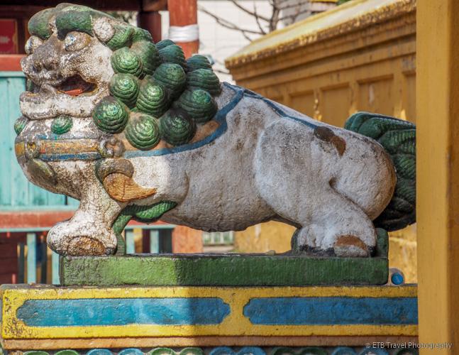 lion at Gandan Khiid in Ulaanbaatar